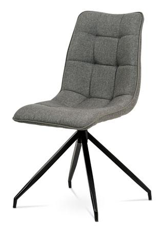 Jídelní židle, hnědá látka + ekokůže, kov antracit