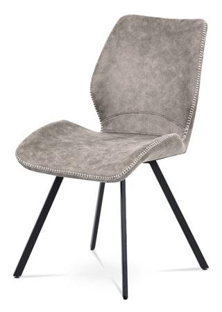 Jídelní židle, lanýžová látka vintage, kov černý mat