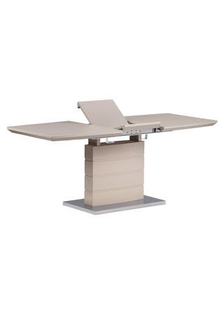 Rozkládací jídelní stůl 140+40x80x76 cm, cappuccino sklo, cappuccino matný lak, broušený nerez
