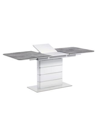 Jídelní stůl 140+40x80, šedé sklo, bílý vysoký lesk MDF, broušený nerez