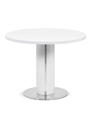 Jídelní stůl pr.100x77, bílá MDF mat, broušený nerez