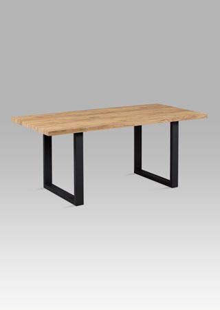 Jídelní stůl 180x90 cm, 3D dekor dub / černý kov