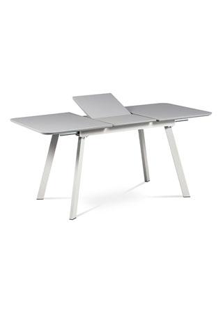 Jídelní stůl 120+40x80 cm, šedá matná MDF+šedé sklo, kov šedý mat