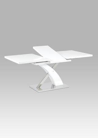 Rozkládací jídelní stůl 140+40x90 cm, bílý mat / nerez