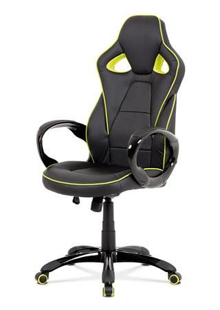 Kancelářská židle, černá-zelená ekokůže, houpací mech, plastový kříž