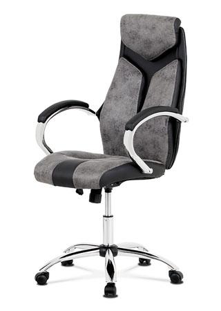 Kancelářská židle, látka šedá+ekokůže černá, houpací mech, kovový kříž
