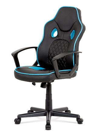 Kancelářská židle, černá ekokůže+modrá látka, houpací mech, plast kříž