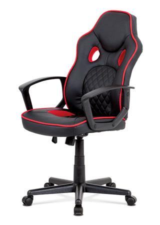 Kancelářská židle, černá ekokůže+červená látka, houpací mech, plast kříž