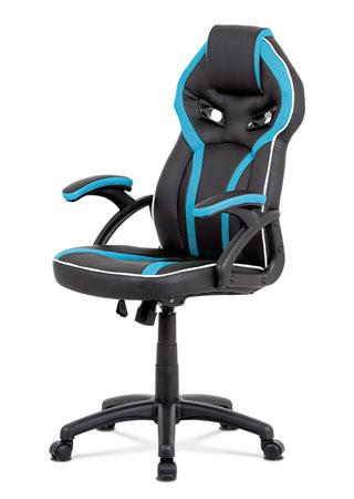 Kancelářská židle, černá ekokůže+modrá látka MESH, houpací mech, plast kříž