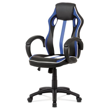 Kancelářská židle, modrá-černá ekokůže+MESH, houpací mech, kříž plast černý