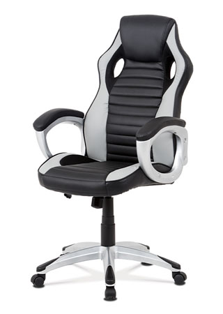 Kancelářská židle, šedá-černá ekokůže, houpací mech, kříž plast stříbrný