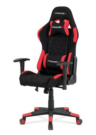 Kancelářská židle, červená látka, houpací mech, kříž plast