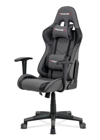 Kancelářská židle, šedá látka + černá ekokůže, houpací mech., plastový kříž