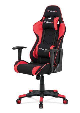 Kancelářská židle, červená ekokůže + černá látka, houpací mech., plastový kříž