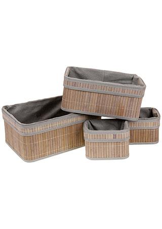 Košík regálový z bambusu, sada 4 kusy