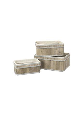 Košík regálový z bambusu, sada 3 kusy