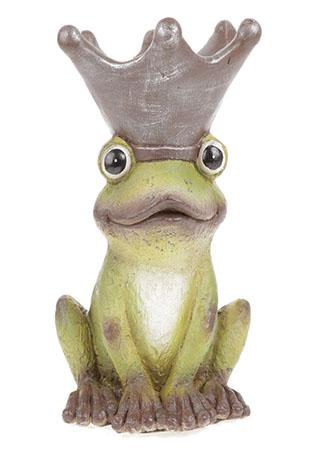 Žába s korunkou na hlavě, zahradní magneziová keramika.