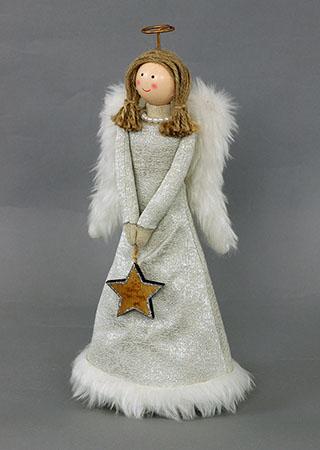 Andělka dekorační textilní s umělým plyšem