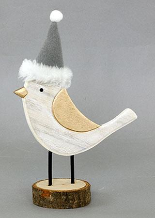 Ptáček dekorační dřevěný a textilní