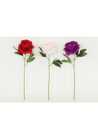 Pivoňka, 1 květ, (mix v balení fialová,červená,krémová). Květina umělá.