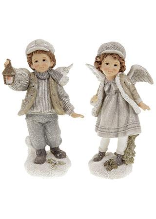 Děti s andělskými křídly, vánoční dekorace z polyresinu, mix 2 tvarů, cena za 1 kus