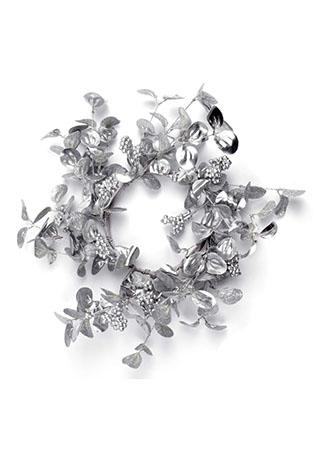 Věneček, vánoční umělá dekorace, barva stříbrná