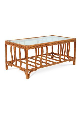 Ratanový konferenční stolek, moření tmavý med. BEZ SKLA.
