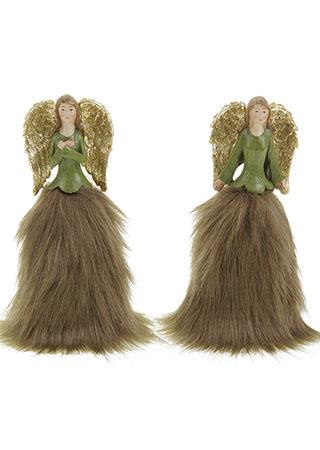 Anděl, vánoční dekorace, mix 2 druhů, cena za 1 kus, barva zelená