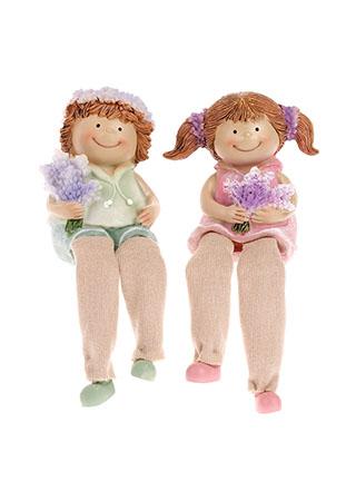 Levandulová dívka nebo chlapec sedící, nohy z textilu, polyresin, cena za 1ks.