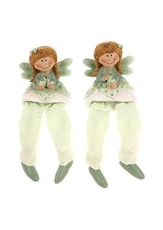 Jahodová víla sedící,nohy z textilu, polyresin, barva zelená, mix dvou druhů, cena za 1 kus