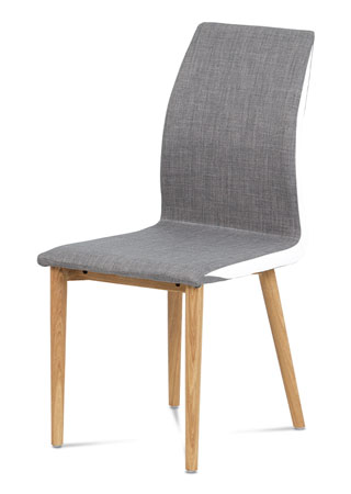 Jídelní židle látka šedá, boky bílá koženka, nohy masiv dub