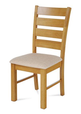 Jídelní židle, masiv kaučukovník, látkový béžový potah, moření dub