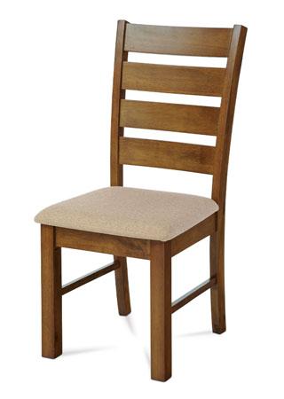 Jídelní židle, masiv kaučukovník, látkový béžový potah, moření ořech