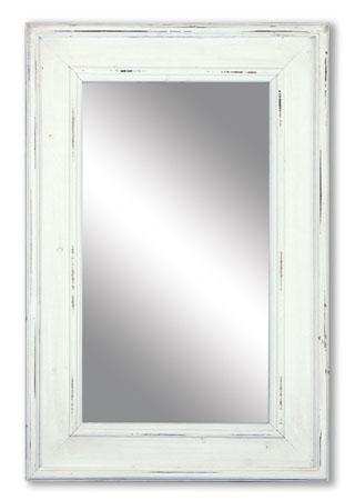 Zrcadlo dřevěné, barva bílá antik, MDF.