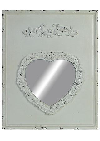 Zrcadlo ve tvaru srdíčka na dřevěné jedlové desce, barva bílá antik