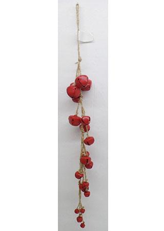 Girlanda, vánoční dekorace s červenými kovovými rolničkami