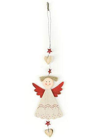 Andělka, závěsná dřevěná vánoční dekorace