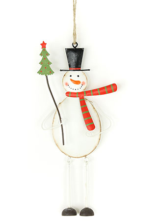 Sněhulák, kovová vánoční závěsná dekorace