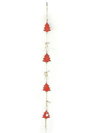 Girlanda, vánoční dekorace s červenými kovovými stromečky