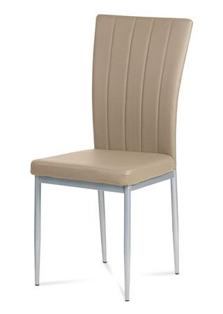 Jedálenská stolička, koženka kapučíno, sivý lak AC-1287 CAP