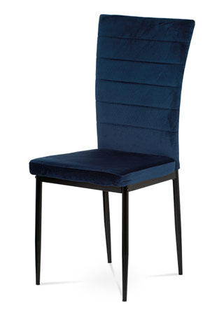Jedálenská stolička, modrá látka zamat, kov čierny mat AC-9910 BLUE4