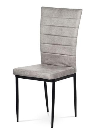 Jedálenská stolička, lanýžová látka zamat, kov čierny mat AC-9910 LAN3