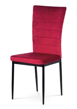 Jedálenská stolička, červená látka zamat, kov čierny mat AC-9910 RED4