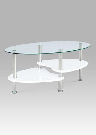 Konferenčný stolík 100x60x42cm, sklo/vysoký lesk biely, nerez ACT-007 WT1