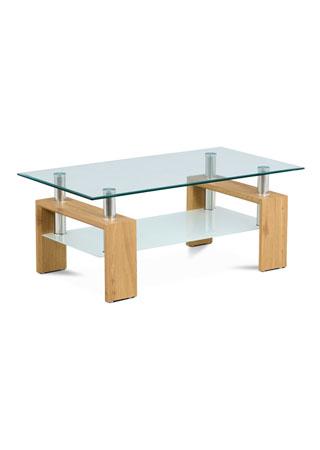 Konferenčný stolík 110x60x45cm, dub, 8 mm sklo, polica mliečna AF-1024 OAK