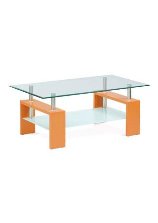 Konferenčný stolík 110x60x45,8mm číre sklo, polica 6mm mliečne sklo, MDF ORA fólia AF-2024 ORA