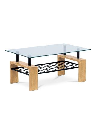 Konferenčný stolík 110x60x44, čiré tvrdené sklo, MDF dekor divoký dub, kov čierny AHG-380 OAK