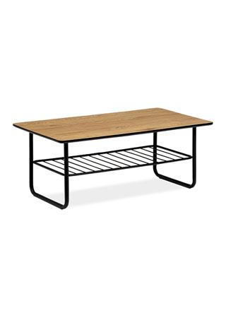 Konferenčný stolík 110x60x45, hrúbka 25mm, MDF dekor divoký dub, kov čierny mat. lak AHG-382 OAK