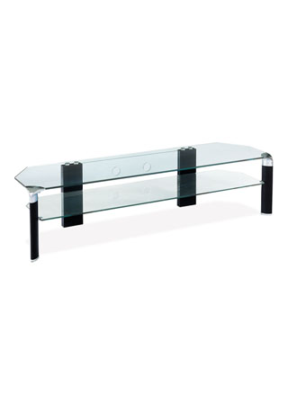 TV stolík, čierne nohy/číre sklo ATV-019 BK