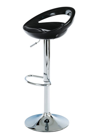 Barová stolička,čierny plast, chromová podnož, výškověo nastavitelná AUB-404 BK